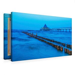 Premium Textil-Leinwand 75 cm x 50 cm quer Möwen zur blauen Stun