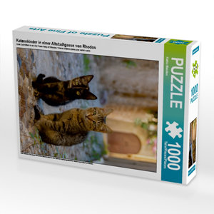Katzenkinder in einer Altstadtgasse von Rhodos 1000 Teile Puzzle