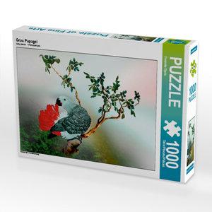 Grau Papagei 1000 Teile Puzzle quer