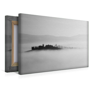 Premium Textil-Leinwand 45 cm x 30 cm quer Insel im Nebel