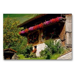 Premium Textil-Leinwand 90 cm x 60 cm quer Bauernhaus im Schnals