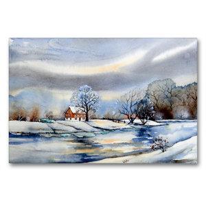 Premium Textil-Leinwand 90 cm x 60 cm quer Winter am Fluß