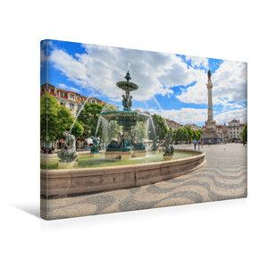 Premium Textil-Leinwand 45 cm x 30 cm quer Platz Rossio