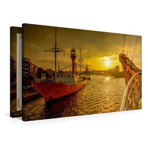 Premium Textil-Leinwand 90 cm x 60 cm quer Feuerschiff Weser am