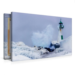 Premium Textil-Leinwand 75 cm x 50 cm quer Leuchturm Sassnitz im