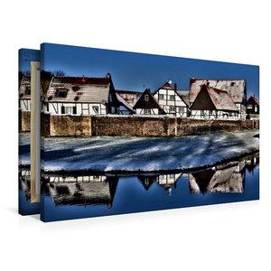 Premium Textil-Leinwand 90 cm x 60 cm quer Winterlicher Dorfchar
