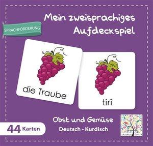 Mein zweisprachiges Aufdeckspiel, Obst und Gemüse, Deutsch-Kurdi
