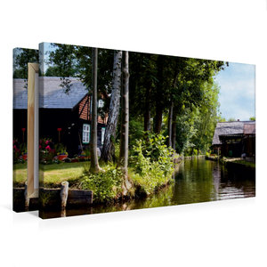 Premium Textil-Leinwand 75 cm x 50 cm quer Häuser an einem Fließ