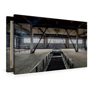 Premium Textil-Leinwand 90 cm x 60 cm quer Halle mit Förderbände