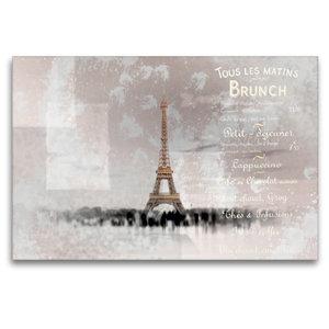 Premium Textil-Leinwand 120 cm x 80 cm quer PARIS Collage