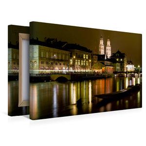 Premium Textil-Leinwand 45 cm x 30 cm quer Zürich in der Nacht