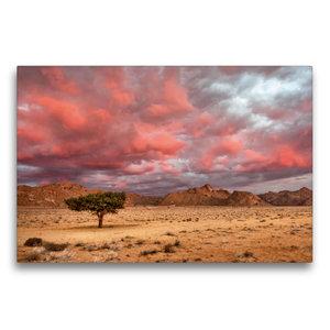 Premium Textil-Leinwand 75 cm x 50 cm quer Rosa Wolken über dem