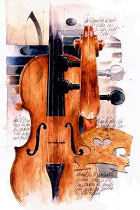 Premium Textil-Leinwand 80 cm x 120 cm hoch Violin