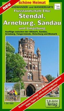 Radwander- und Wanderkarte Flusslandschaft Elbe, Stendal, Arnebu - zum Schließen ins Bild klicken