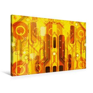 Premium Textil-Leinwand 90 cm x 60 cm quer Kirche auf goldenem H
