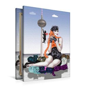 Premium Textil-Leinwand 60 cm x 90 cm hoch Mädchen mit Raubkatze