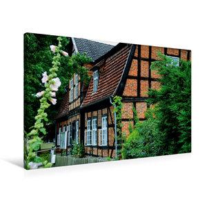 Premium Textil-Leinwand 90 cm x 60 cm quer Fachwerk in Mecklenbu
