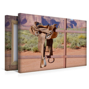 Premium Textil-Leinwand 45 cm x 30 cm quer Ein Westernsattel