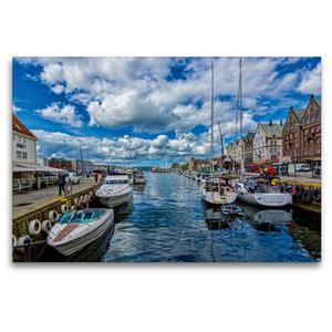 Premium Textil-Leinwand 120 cm x 80 cm quer Bergen