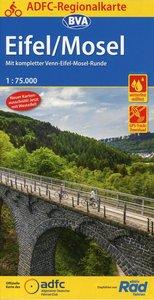 ADFC-Regionalkarte Eifel/Mosel mit Tagestouren-Vorschlägen, 1:75