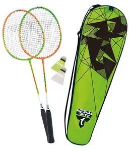 Talbot-Torro Badminton-Set 2-Attacker, 2 Schläger, 2 Federbälle,
