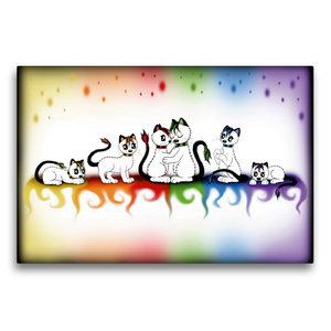 Premium Textil-Leinwand 75 cm x 50 cm quer bunte Kätzchen