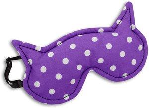 Schlafmaske, Die Katze Luna, Farbe: Polka dot lila / Mitternacht