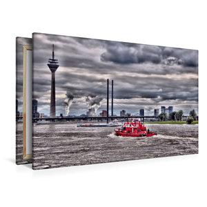Premium Textil-Leinwand 120 cm x 80 cm quer Feuerwehreinsatz übe
