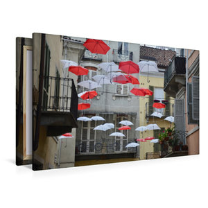 Premium Textil-Leinwand 120 cm x 80 cm quer schwebende Schirme