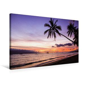 Premium Textil-Leinwand 75 cm x 50 cm quer Puamana Beach
