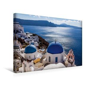 Premium Textil-Leinwand 45 cm x 30 cm quer Kirche in Oia