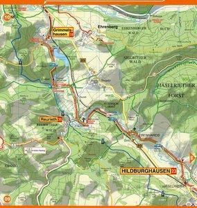 Radwanderkarte mit Zick-Zack-Faltung Werratal-Radweg
