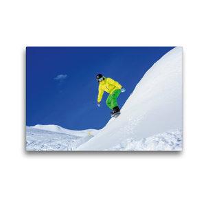 Premium Textil-Leinwand 45 cm x 30 cm quer Snowboarder auf Arlbe