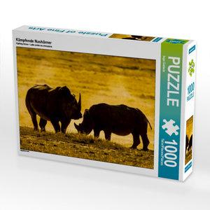 Kämpfende Nashörner 1000 Teile Puzzle quer