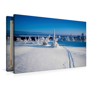 Premium Textil-Leinwand 90 cm x 60 cm quer Skispur in die Ferne