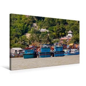 Premium Textil-Leinwand 75 cm x 50 cm quer Boote auf dem Cai Flu