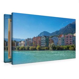 Premium Textil-Leinwand 75 cm x 50 cm quer Bunte Häuser am Inn