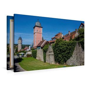 Premium Textil-Leinwand 120 cm x 80 cm quer Stadtmauer Ochsenfur