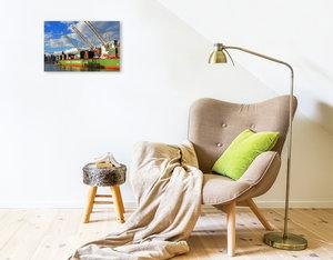 Premium Textil-Leinwand 75 cm x 50 cm quer Goldmantelziesel im J