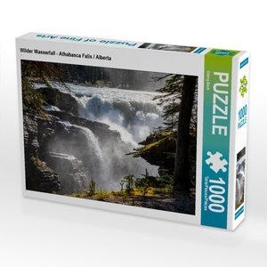 Premium Textil-Leinwand 45 cm x 30 cm quer Wilder Wasserfall - A